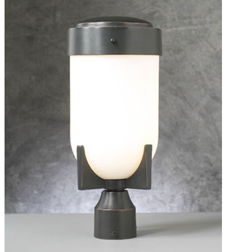 PLC Lighting Firenzi Outdoor Post Mount in Oil Rubbed Bronze with Matte Opal Glass 31754-ORB photo