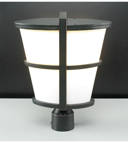 PLC Lighting Alegria Outdoor Post Mount in Oil Rubbed Bronze with Matte Opal Glass 31918-ORB photo