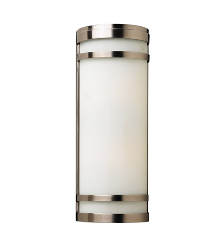 PLC Lighting Leon Outdoor Wall Sconce in Satin Nickel with Matte Opal Glass 32004-SN photo