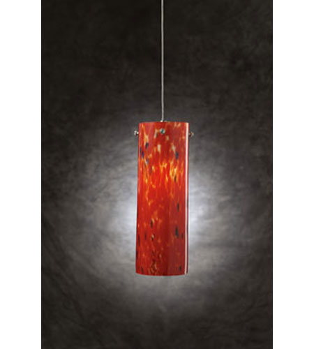 PLC Lighting Silo 1 Light Mini Pendant in Satin Nickel and Red Glass 337-RED photo