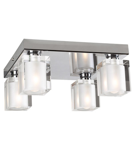 PLC Lighting 3486-PC Glacier 4 Light 10 inch Polished Chrome Flush Mount Ceiling Light photo