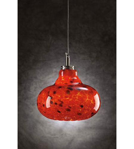 PLC Lighting Genie 1 Light Mini Pendant in Satin Nickel and Red Glass 349-RED photo