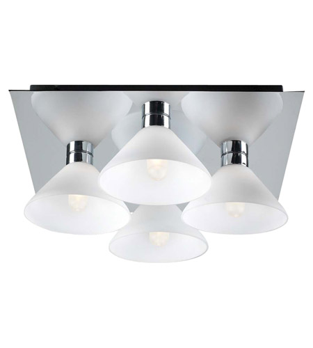 PLC Lighting Matrix Flush Mount in Polished Chrome with Matte Opal Glass 546-PC photo