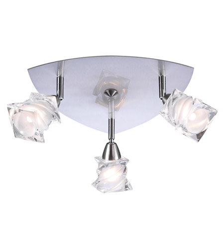 PLC Lighting 6071-SN Avatar 3 Light 12 inch Satin Nickel Flush Mount Ceiling Light photo
