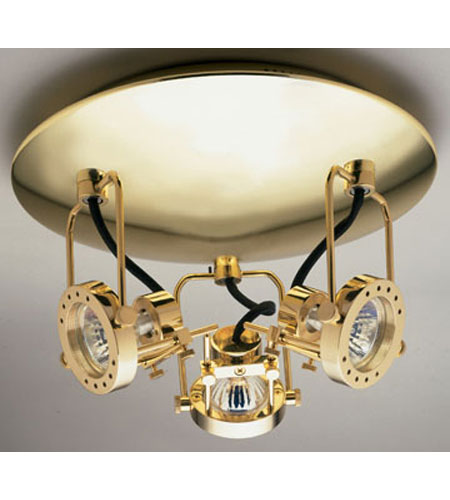 PLC Lighting 6113-PB Sport 3 Light 11 inch Polished Brass Flush Mount Ceiling Light photo