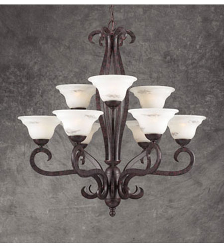 PLC Lighting Mayfair 9 Light Chandelier in Oil Rubbed Bronze and Marbleized Glass 64569 photo