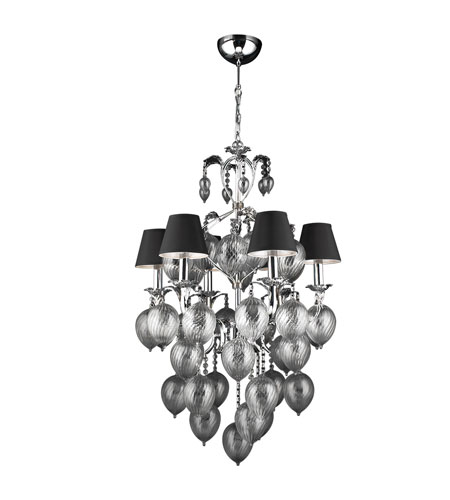 PLC Lighting Sofitel 6 Light Chandelier in Polished Chrome and Black Shade 70022-CLEAR/PC photo