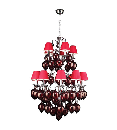 PLC Lighting Sofitel 15 Light Chandelier in Polished Chrome 70027-RED/PC photo