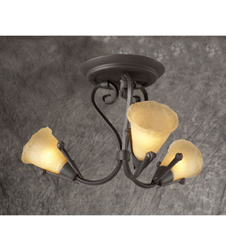 PLC Lighting Versailles Flush Mount in Oil Rubbed Bronze with Vanilla Amber Glass 72323-ORB photo