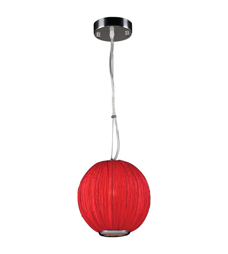 PLC Lighting 73001-RED Sidney 1 Light 8 inch Red Pendant Ceiling Light in Red Silk Shade photo
