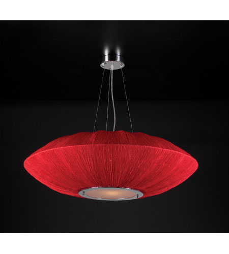 PLC Lighting Mars 4 Light Pendant in Red 73012-RED photo