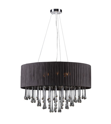 PLC Lighting Rain 6 Light Chandelier in Polished Chrome 73056-BLACK photo