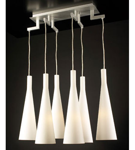 PLC Lighting Magista Chandelier in Aluminum with Matte Opal Glass 7636-AL photo