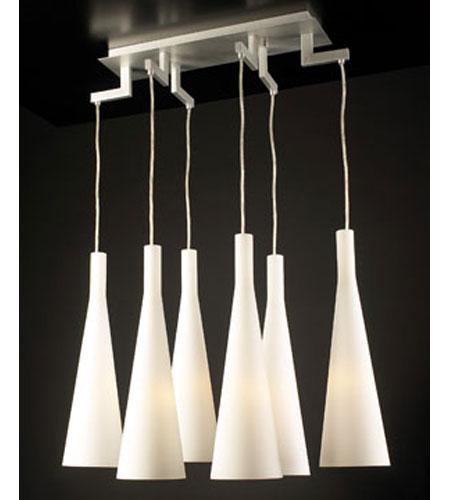 PLC Lighting Magista Chandelier in Aluminum with Matte Opal Glass 7636-AL photo