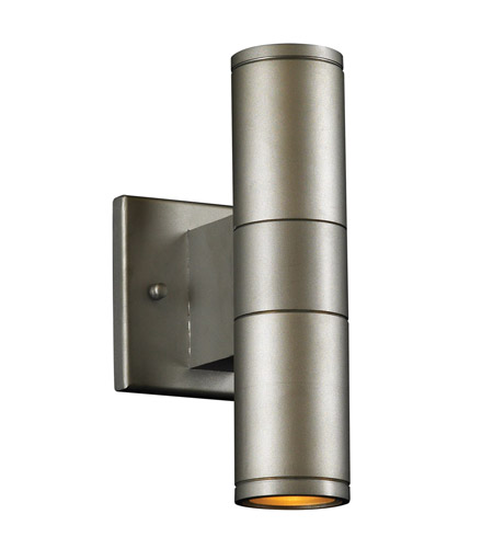 PLC Lighting Troll II 2 Light Outdoor Wall Sconce in Aluminum 8024-AL photo