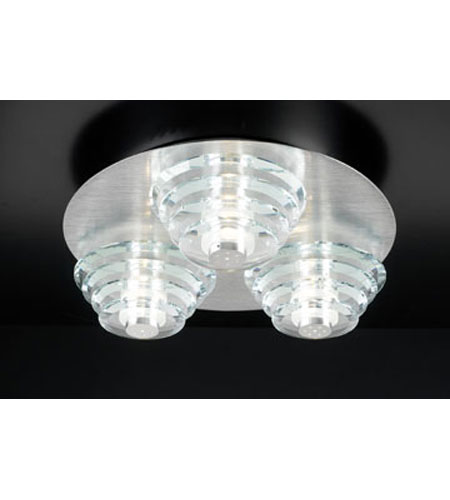 PLC Lighting Dralion Flush Mount in Aluminum with Clear Glass 81771-AL photo