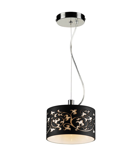 PLC Lighting 81821-BLACK Tuxedo 1 Light 8 inch Polished Chrome Mini Pendant Ceiling Light photo