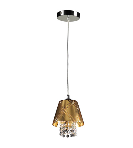 PLC Lighting Nikko 1 Light Mini Pendant in Polished Chrome 81823-GOLD photo