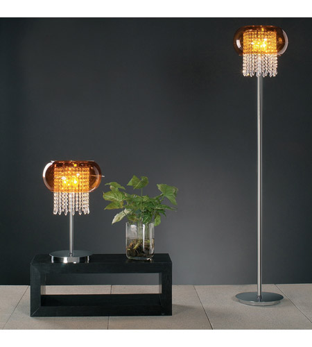 PLC Lighting Poem Table Lamp in Polished Chrome with Amber Glass 87730-PC photo