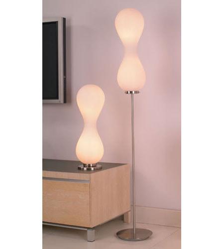 PLC Lighting Peanut Floor Lamp in Polished Chrome with Matte Opal Glass 87755-PC photo