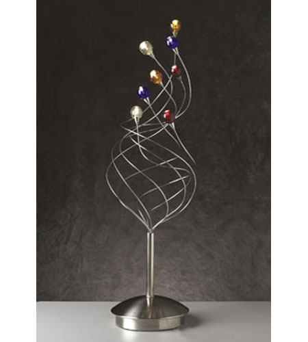 PLC Lighting Nautilus Table Lamp in Satin Nickel with Mixed Color Glass Glass 97979-SN photo
