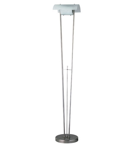 PLC Lighting Uoo Floor Lamp in Satin Nickel with Acid Frost Glass 9922-SN photo