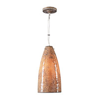 PLC Lighting Renoir 1 Light Mini Pendant in Satin Nickel and Crackle Amber Glass 1116/CFL-AMBER