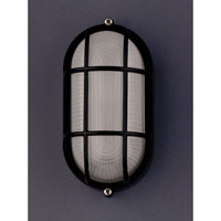 PLC Lighting Marine Outdoor Wall Sconce in Black with Frost Glass 1251/CFL-BK