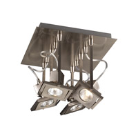 PLC Lighting 1276-SN Square 4 Light 10 inch Satin Nickel Flush Mount Ceiling Light