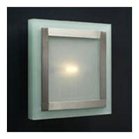 PLC Lighting Slim Wall/Ceiling in Satin Nickel with Acid Frost Glass 1466/CFL-SN