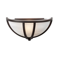 PLC Lighting Highland Sconce in Oil Rubbed Bronze with Marbleized Glass 14860/CFL-ORB