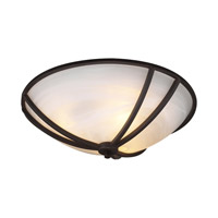 PLC Lighting Highland Flush Mount in Oil Rubbed Bronze with Marbleized Glass 14863/CFL-ORB