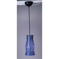 PLC Lighting Febo 1 Light Mini Pendant in Black and Cobalt Blue Glass 1500/CFL-BLUE