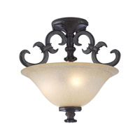 PLC Lighting Lexington Flush Mount in Oil Rubbed Bronze with Antique Amber Glass 15250-ORB