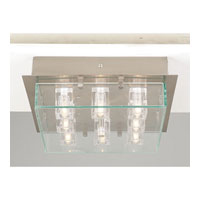 PLC Lighting Ice Cube Flush Mount in Satin Nickel with Clear Glass 1530-SN