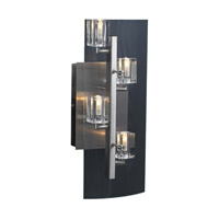 PLC Lighting Ice Cube Sconce in Satin Nickel with Clear Glass 1532-SN