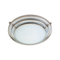 PLC Lighting Cascade Flush Mount in Satin Nickel with Acid Frost Glass 1612/CFL-SN