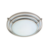 PLC Lighting Cascade Flush Mount in Satin Nickel with Acid Frost Glass 1616/CFL-SN