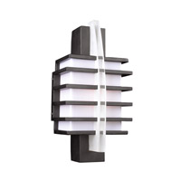 PLC Lighting Carre Outdoor Wall Sconce in Bronze with Matte Opal Glass 16602-BZ