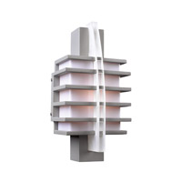 PLC Lighting Carre Outdoor Wall Sconce in Silver with Matte Opal Glass 16602-SL