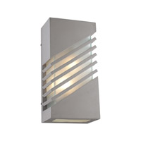 PLC Lighting Perlage Outdoor Wall Sconce in Silver with Frost Glass 16606-SL