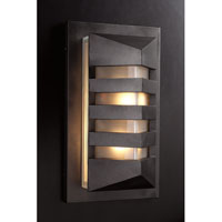 PLC Lighting De Majo Outdoor Wall Sconce in Bronze with Frost Glass 16611/CFL-BZ