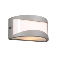 PLC Lighting Baco Outdoor Wall Sconce in Silver with Matte Opal Glass 1727-SL