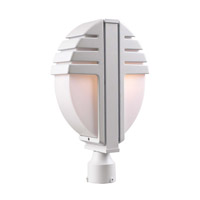 PLC Lighting Synchro Outdoor Post Mount in White with Matte Opal Glass 1831/CFL-WH