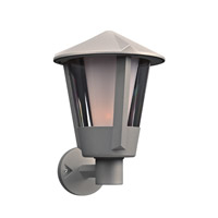PLC Lighting Silva 1 Light Outdoor Wall Light in Silver 1886SL