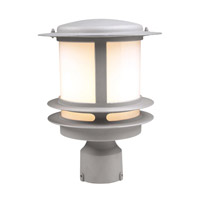 PLC Lighting Tusk Outdoor Post Mount in Silver with Bk Glass 1896/CFL-SL