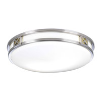 PLC Lighting serena Flush Mount in Satin Nickel with Matte Opal Glass 1955-SN