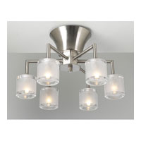 PLC Lighting Julius Flush Mount in Satin Nickel with Frost Glass 21084-SN