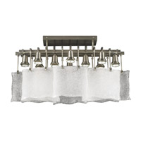PLC Lighting Carilon Flush Mount in Satin Nickel with Frost Glass 23030-SN