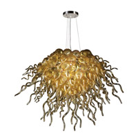 PLC Lighting Elixir 12 Light Chandelier in Polished Chrome and Amber Glass 23616-AMB/PC